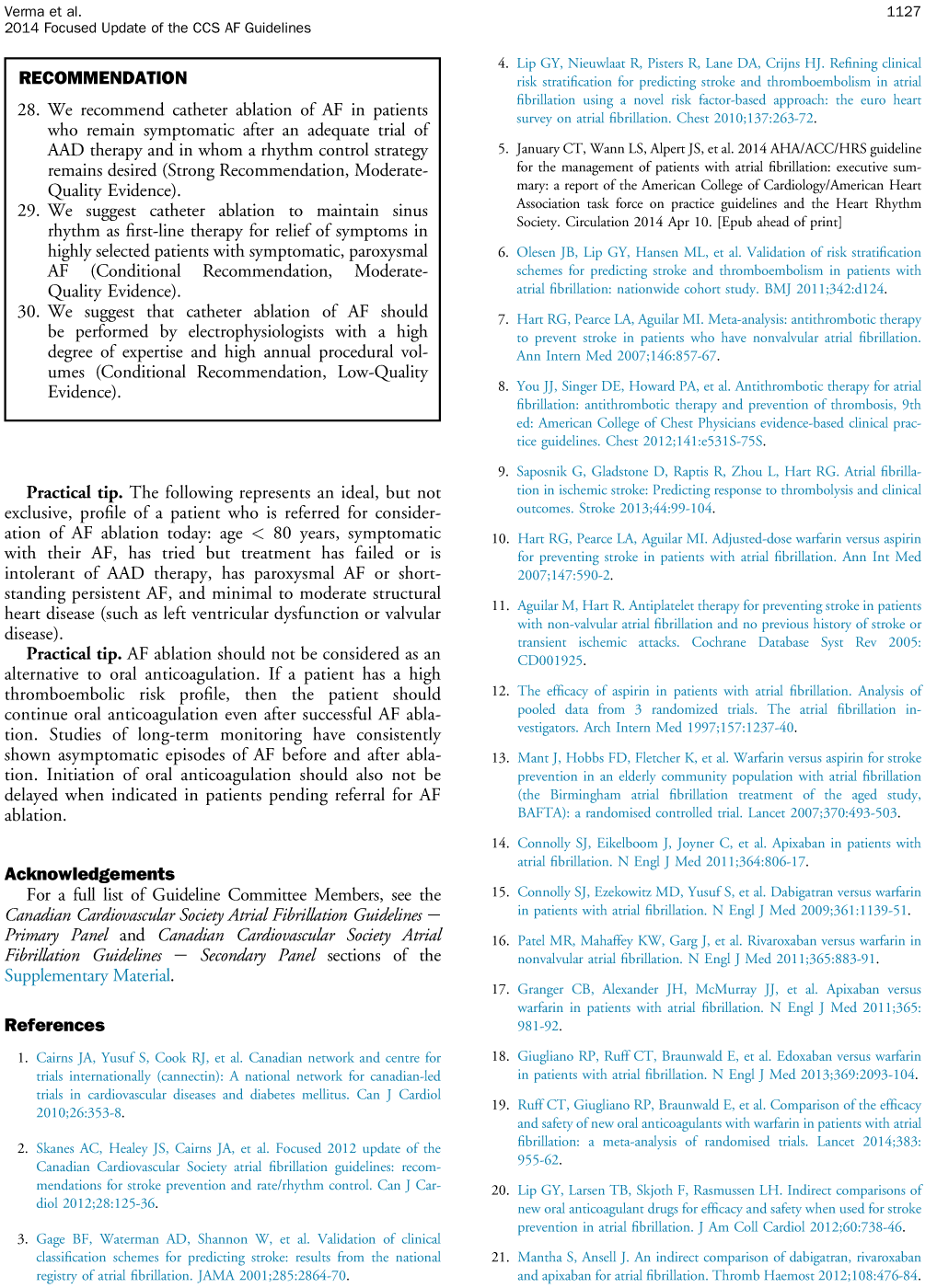 verma panel recommendation for prevention of